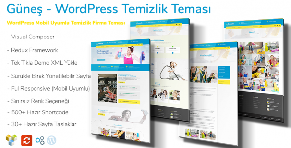 Güneş WordPress Temizlik Firma Teması