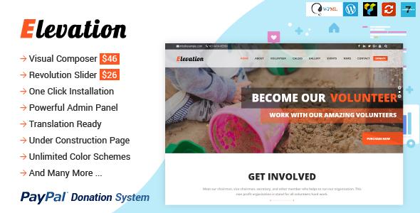 Elevation - Organizasyon,Bağış WordPress Teması