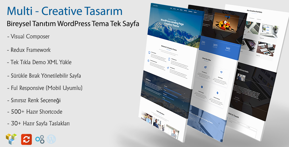 Multi WordPress Responsive Firma Tek Sayfa Tema